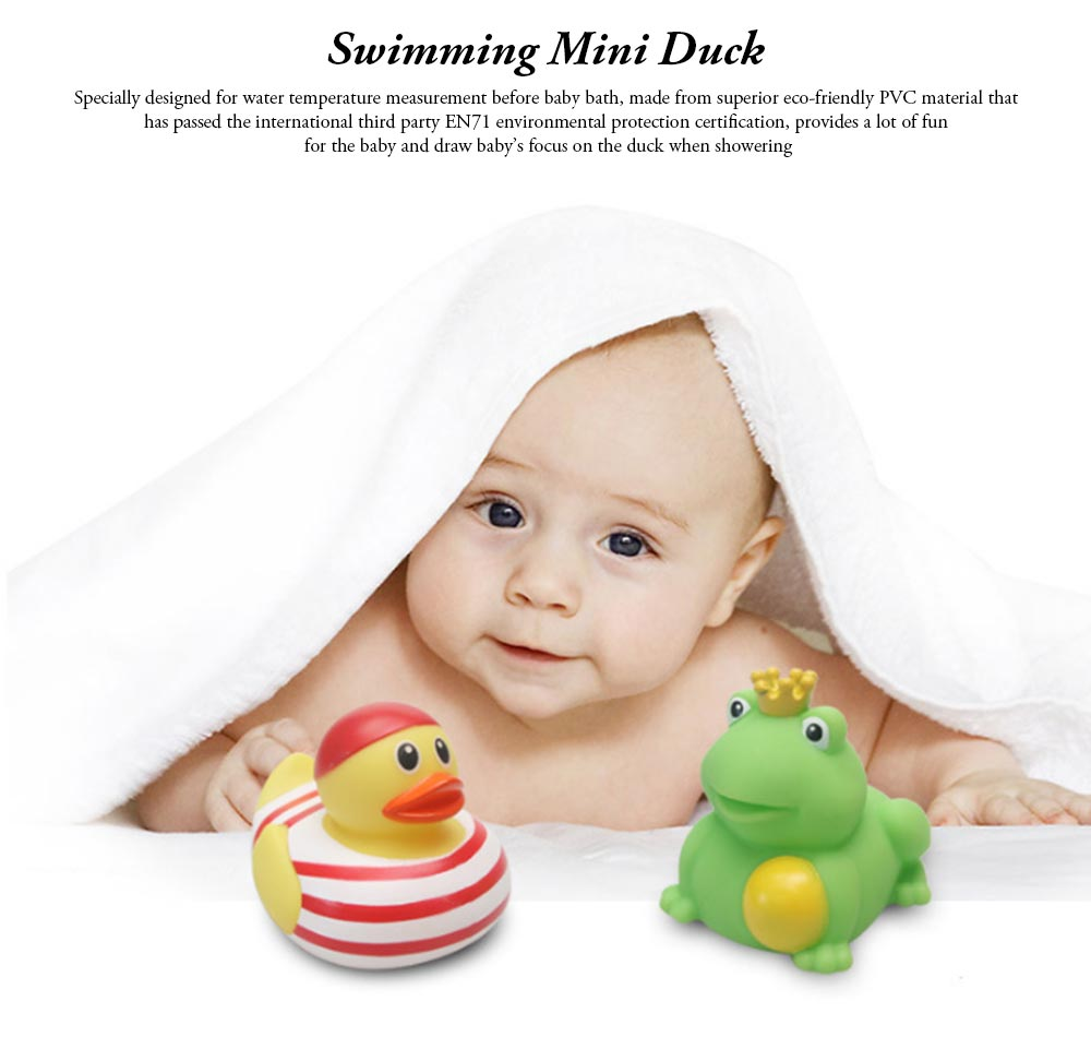 Mini Duck Bath Toy for Baby Shower Water Temperature Measurement Bathing Toy for Baby 0