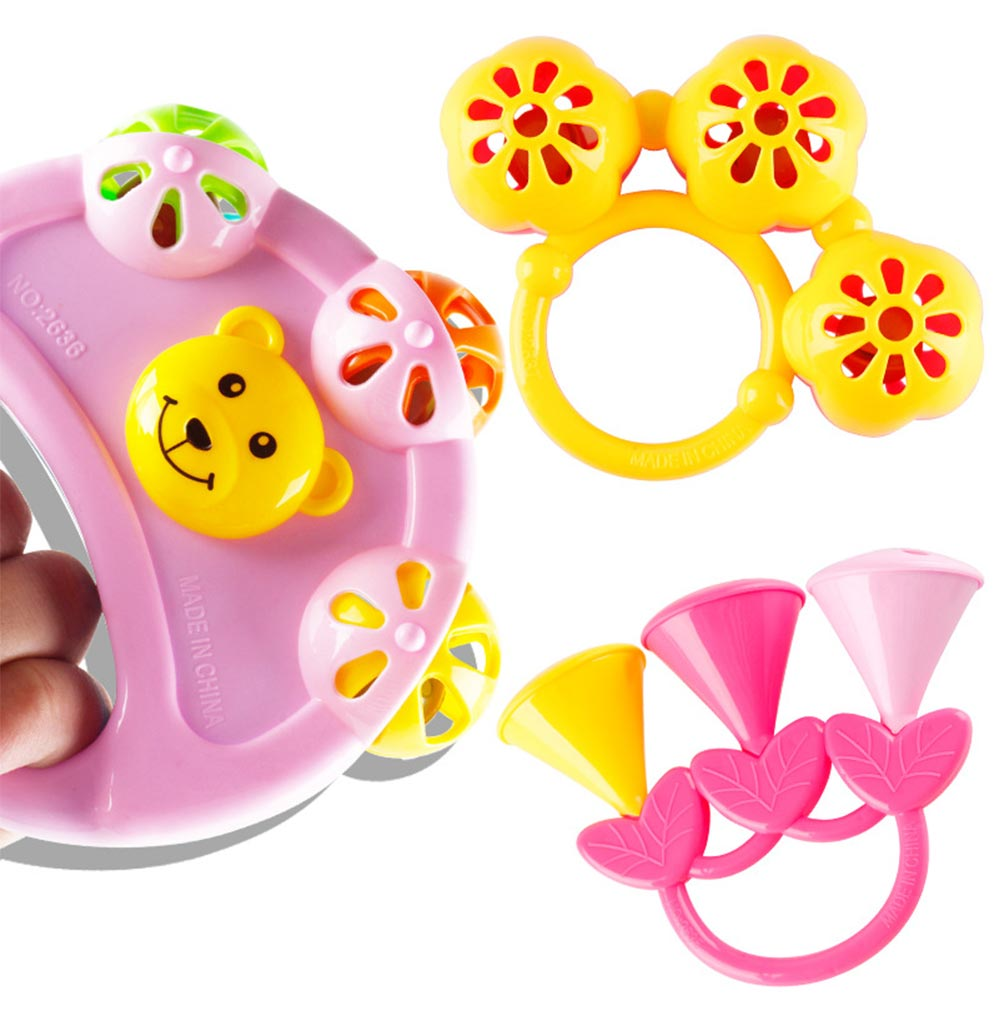 Early Education Rattle Toy for 3-12 Months Babies, Eco-friendly ABS Intelligence Shaker Bell Toys 1