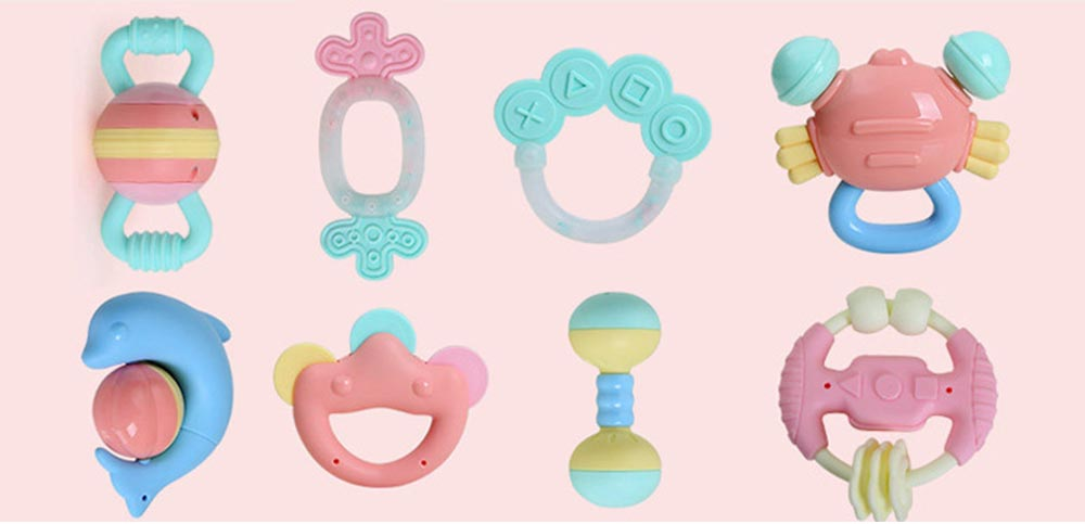 Baby Rattles Toys Set, Eco-friendly Nipple Material Boilable Rattles Teether for Babies, Infant Early Education Rattle Toys Set 7