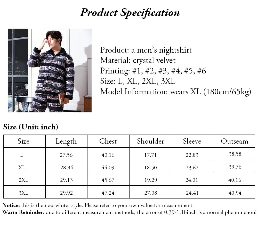 Crystal Velvet Nightshirt for Men, Ultra Warm V-neck Nightshirt with 5 Buttons for Early Spring, Autumn, Winter -5℃~10℃ 10