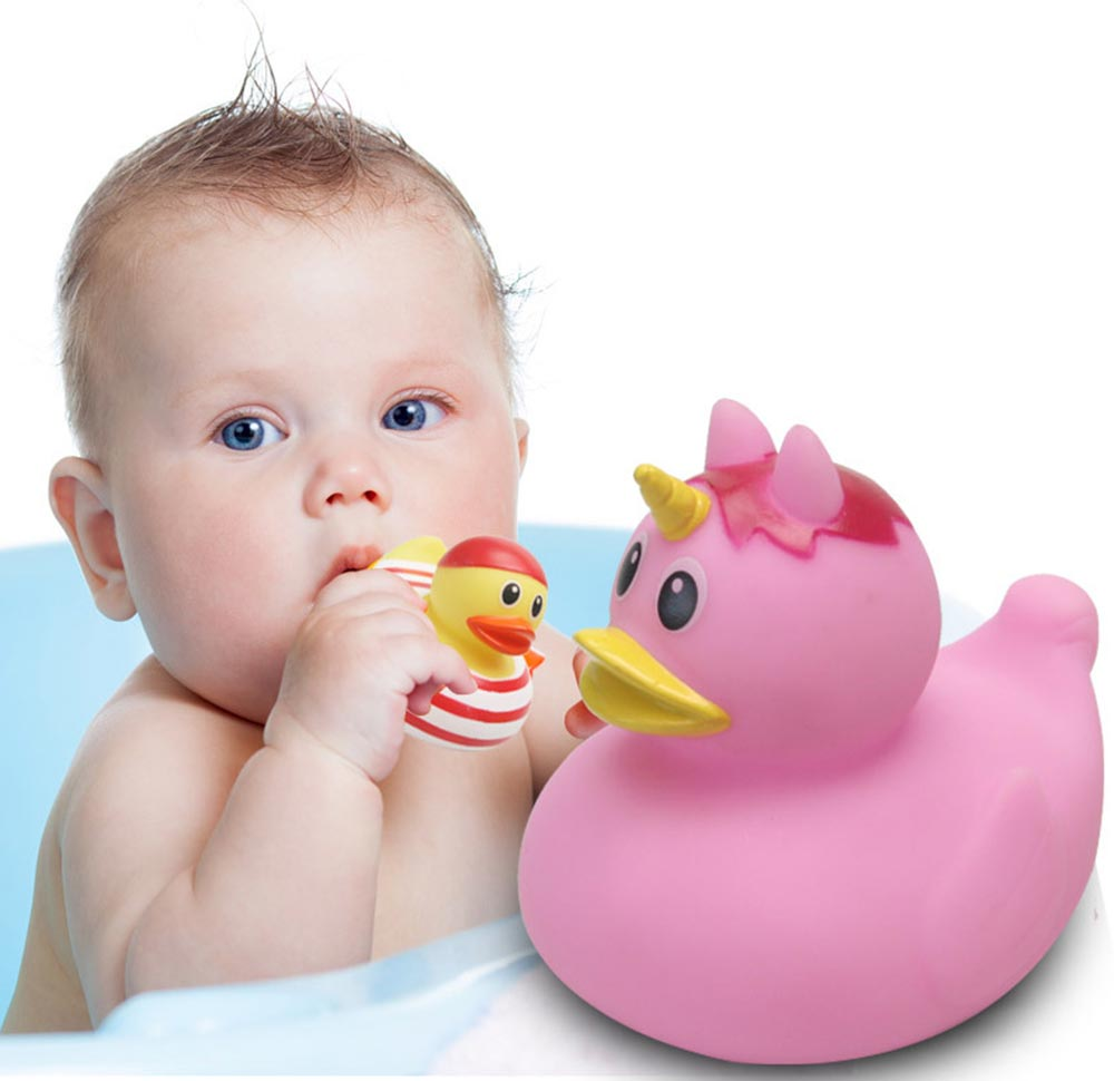 Mini Duck Bath Toy for Baby Shower Water Temperature Measurement Bathing Toy for Baby 2