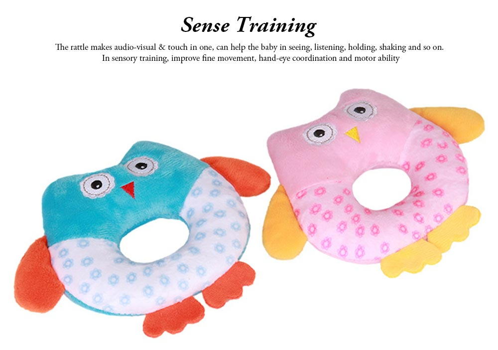 Cute Owl Baby Rattle Toy for Early Education, Audio-visual Touch Thinking Training Rattle Toy Baby Shaker Bell Toys 5