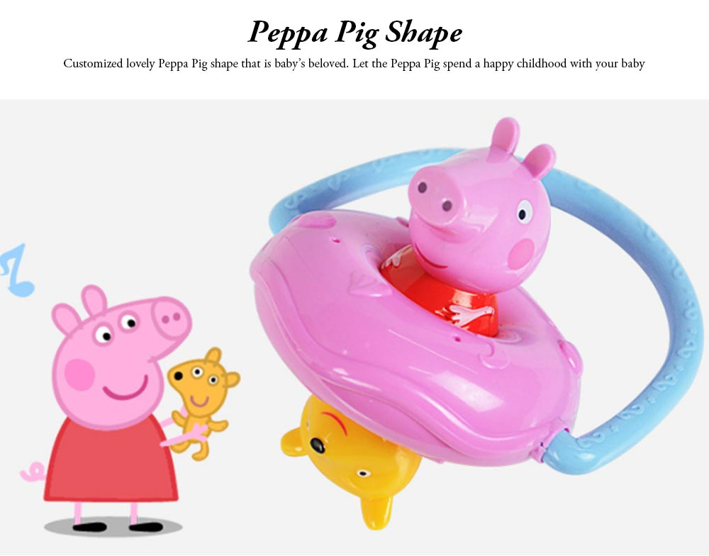 Peppa Pig UFO Shape Shaker Toy for Babies, Early Education Eco-friendly ABS Toy Rattle with Soft Sound 360° Rotation Rattle 1