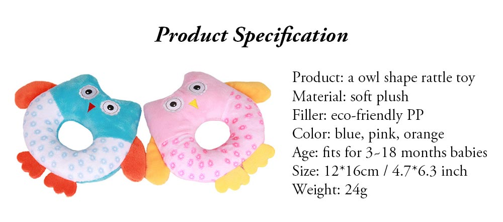 Cute Owl Baby Rattle Toy for Early Education, Audio-visual Touch Thinking Training Rattle Toy Baby Shaker Bell Toys 7