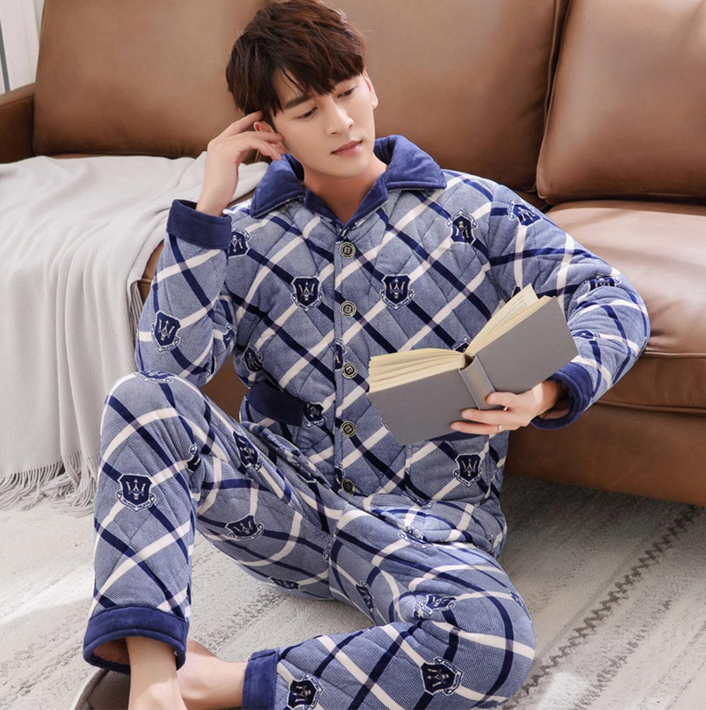 Flannel Sandwiched with Cotton Men's Pajamas, Coral Fleece Lining Nightshirt for Men, Ultra Warm Men's Pajamas Home Essential 4