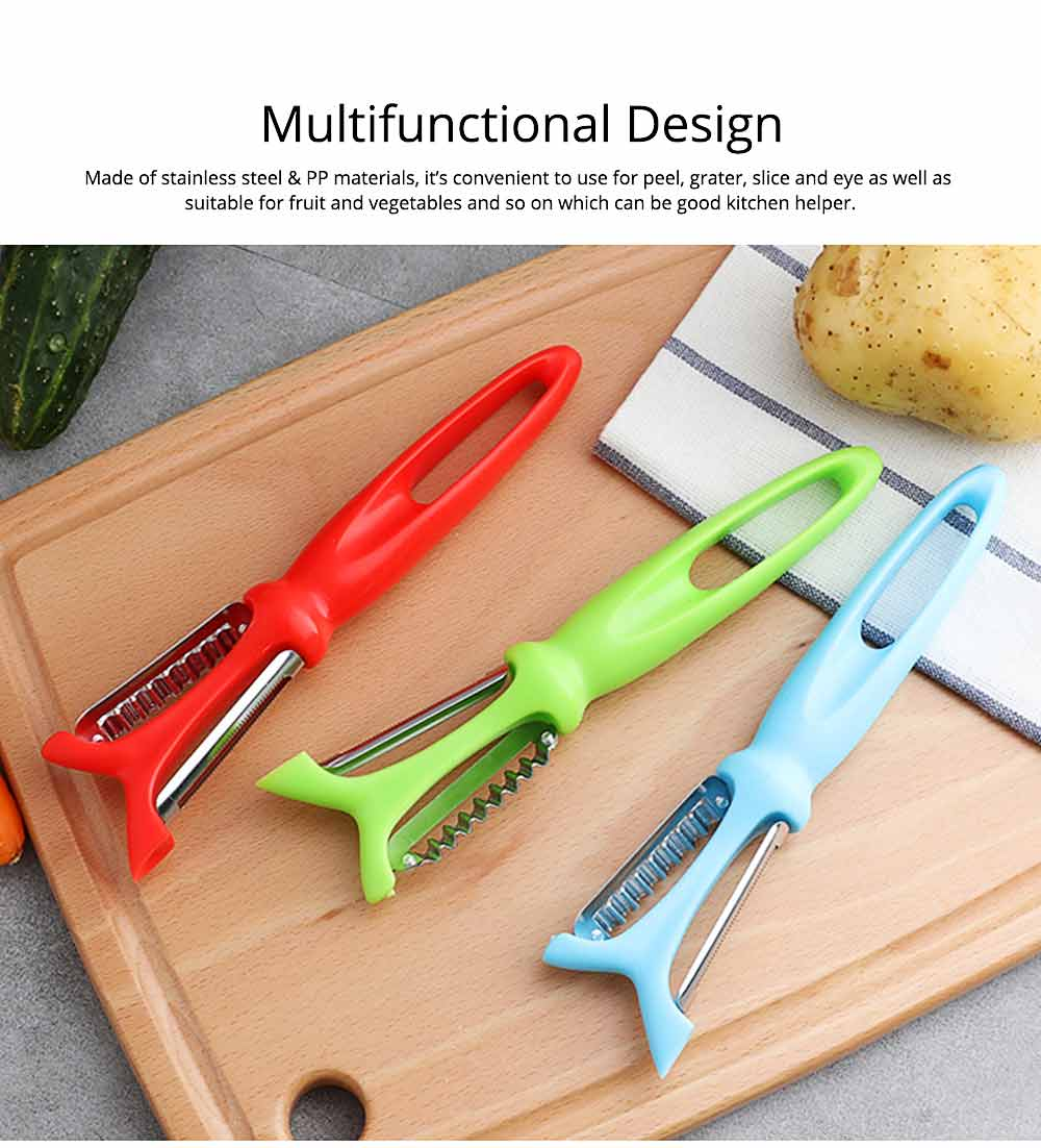 2 in 1Multifunctional Stainless Steel Peeler Knife with Wave Blades, Portable Vegetable Potato Fruit Peeler, Kitchen Cut Tools 1