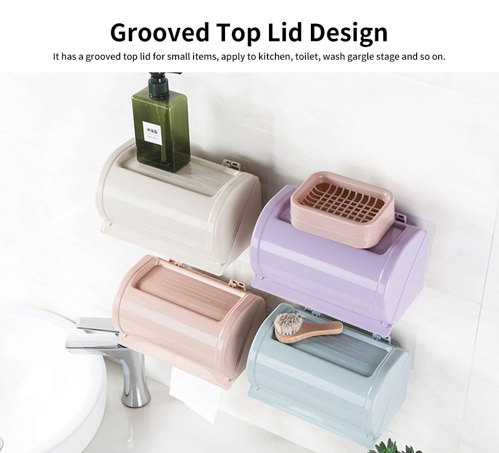 Punch-free Toilet Tissue Box, High-quality ABS Waterproof Roll Paper Container, with Grooved Top Lid Design 5
