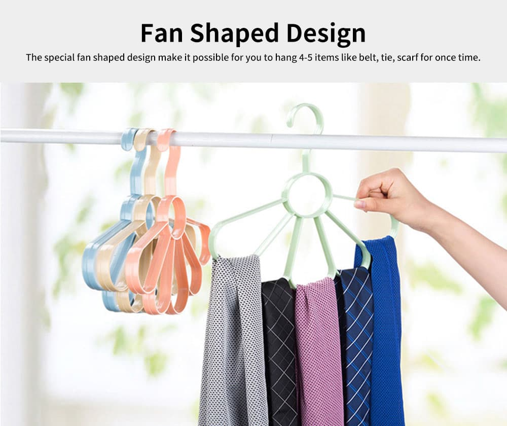 Multifunctional Tie and Scarf Hanger Plastic Fan-shaped for Wardrobe, Home Dormitory Essential Clothes Hanger 5