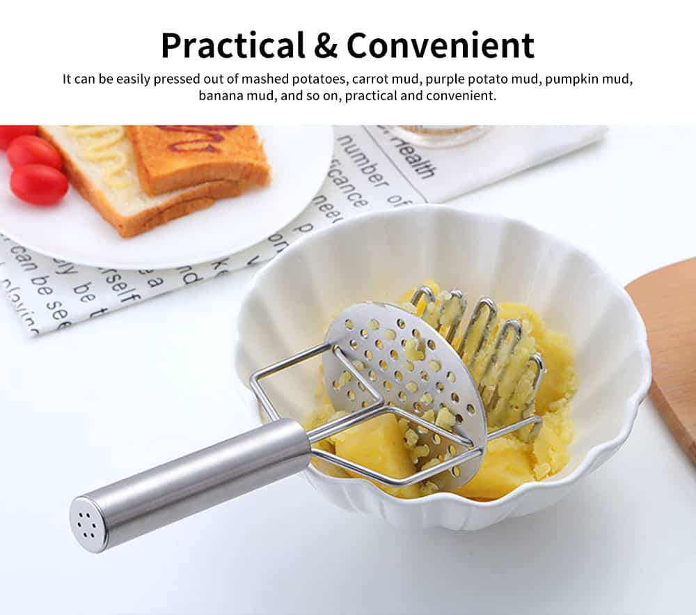 Double Layers Stainless Steel Pressing Potato Machine, Household Creative Fruit Mud Presser with Built-in Strong Spring 2