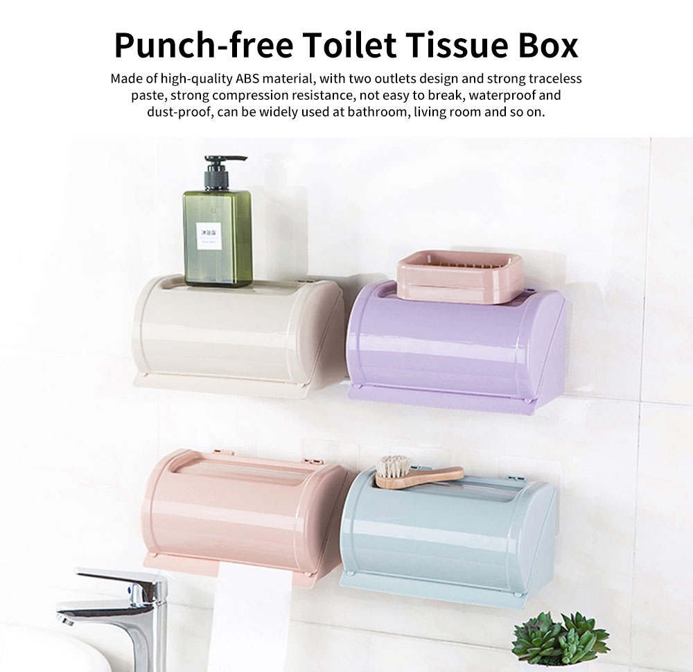 Punch-free Toilet Tissue Box, High-quality ABS Waterproof Roll Paper Container, with Grooved Top Lid Design 0