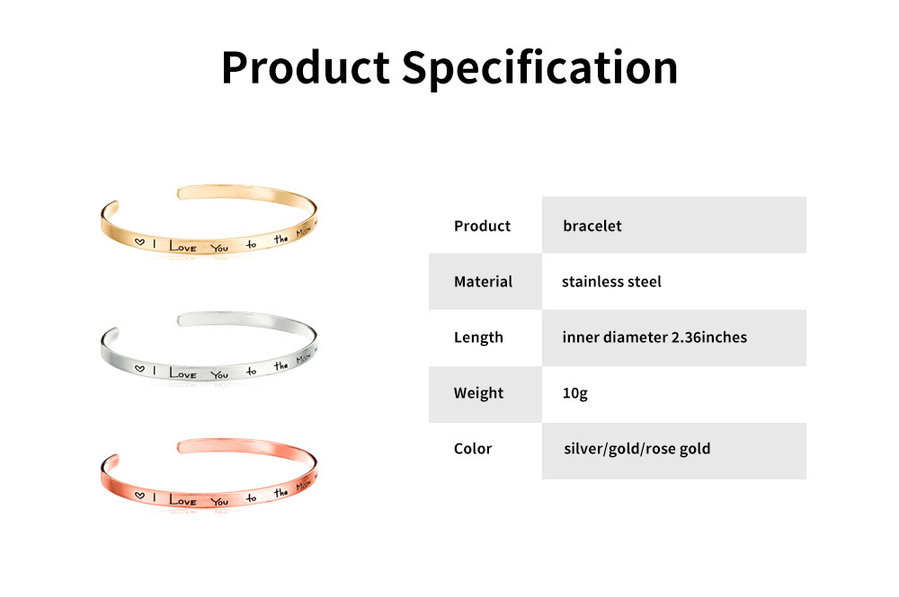 Unisex Bracelet Lady Simple Lettering Plated Stainless Steel Bangle Fashion Jewelry Accessories Elegant Lover Bracelets Valentines Gift For Girlfriend Boyfriend 6