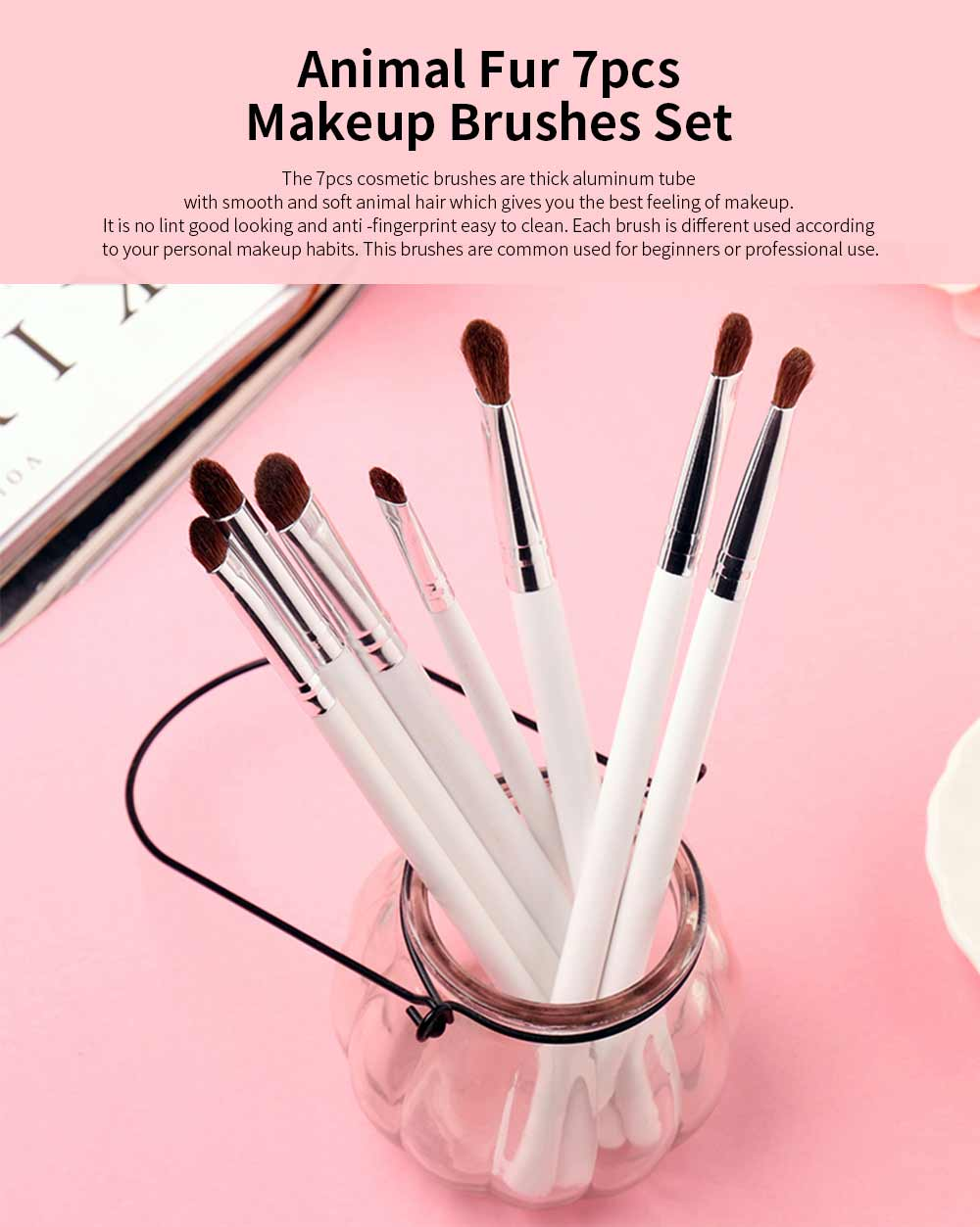 7 pcs Makeup Brushes Set Soft Cosmetic Brush Tool High Quality Animal Hair 0