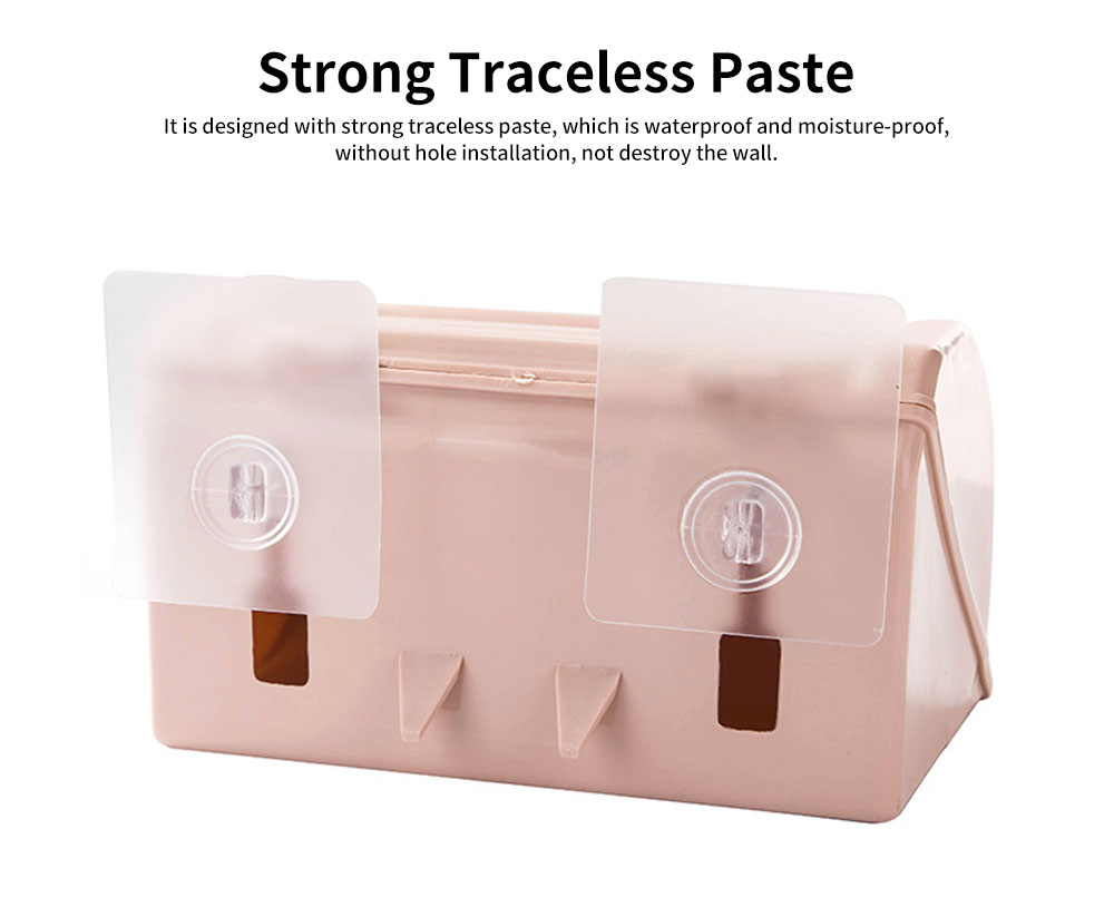Punch-free Toilet Tissue Box, High-quality ABS Waterproof Roll Paper Container, with Grooved Top Lid Design 2