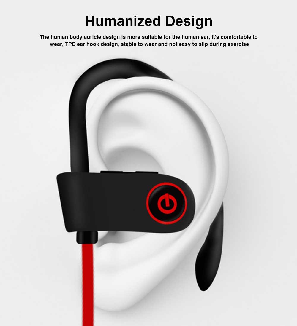 New U8 Wireless Bluetooth Headset, Hanging Ear Running Universal Headphone, Waterproof Earphone 2