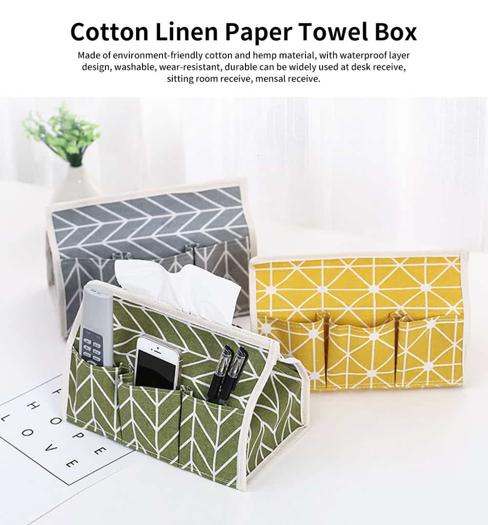 Cotton Linen Paper Towel Box, Garden Wind Multifunctional Paper Towel Storage Container, with Waterproof Layer Design 0