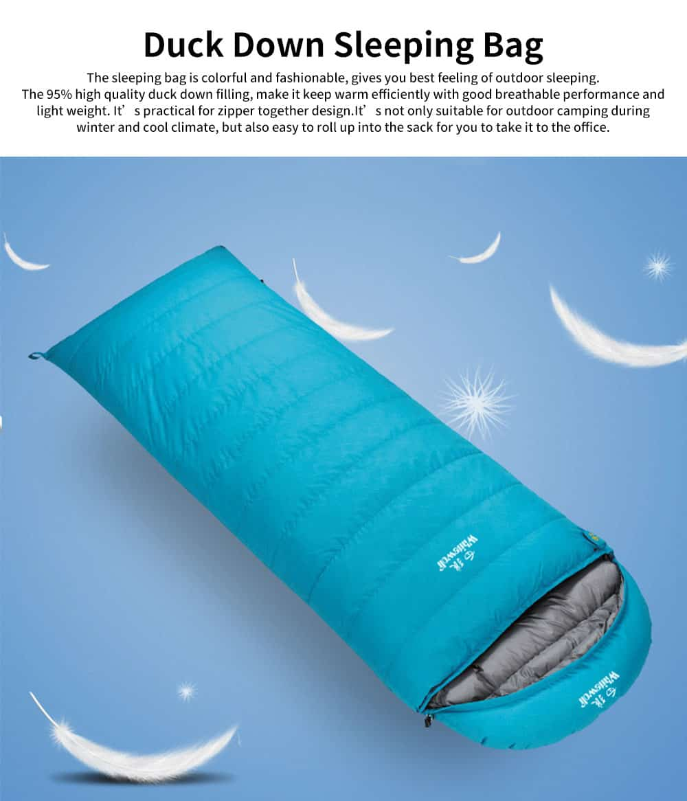 Outdoor Duck Down Envelope Sleeping Bag, Lightweight Sleeping Bag for Camping Hiking Picnic 0