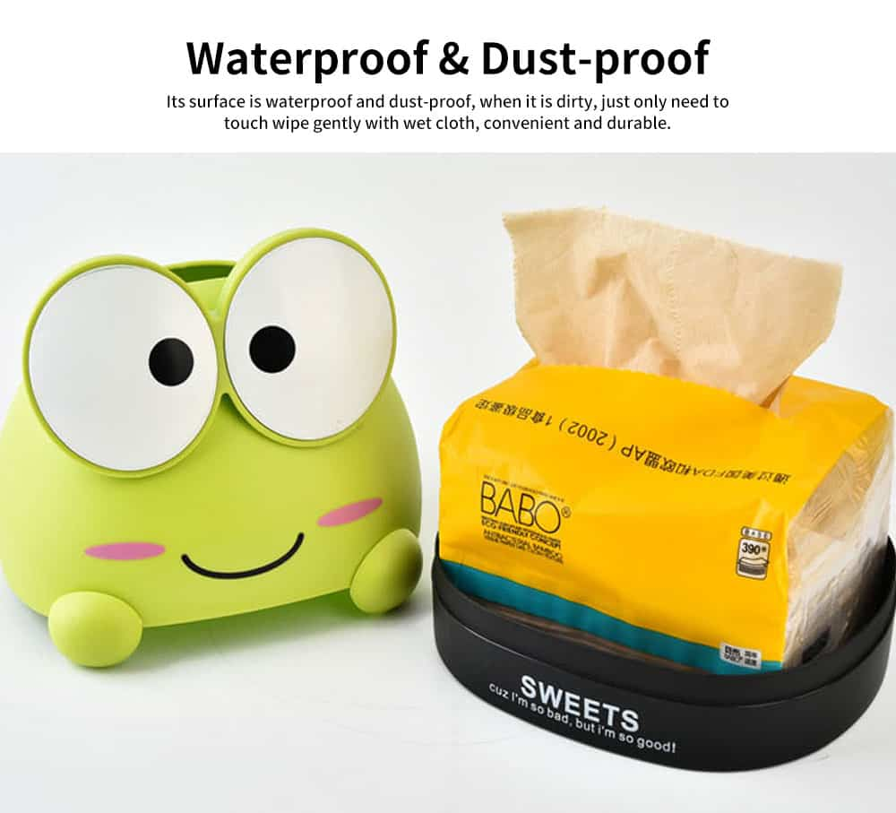 Cute Cartoon Frog Paper Towel Container, Environment-friendly Wheat Fiber Tissue Box, with Delicate Frog Appearance 2
