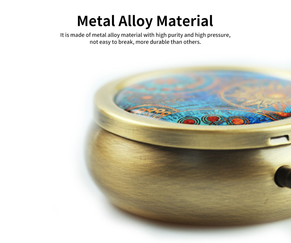 Metal Alloy Mini Portable Small Pill Box, Jewelry Storage Container, with a Variety of Unique Pattern 5