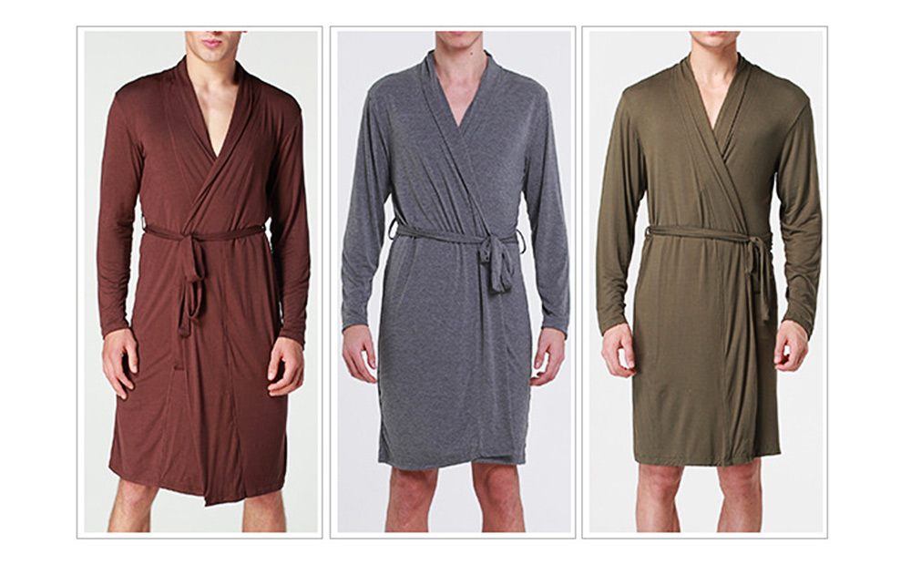Modal Night-gown for Men Comfortable Slippy Material Big and Tall Sexy Bathrobe Sleepwear with Belt for Summer 6
