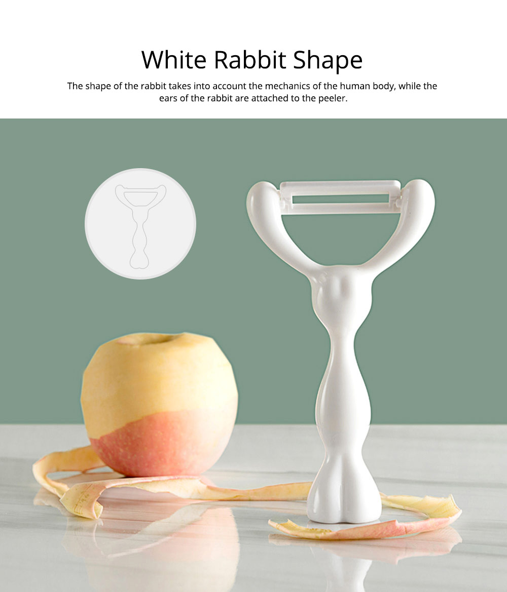 Multifunctional Ceramic Peeler Knife with White Rabbit Shape, Portable Vegetable Potato Fruit Peeler, Kitchen Cut Tools 3