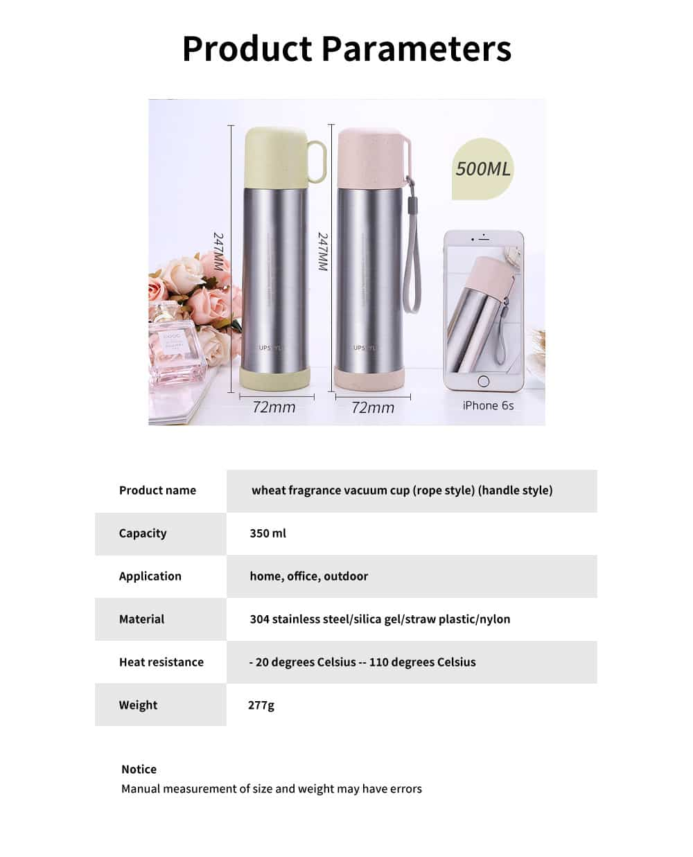 Wheat Straw Stainless Steel Thermos Cup, Student Simple Portable Water Cup, Female Fresh Literary Water Bottle 6