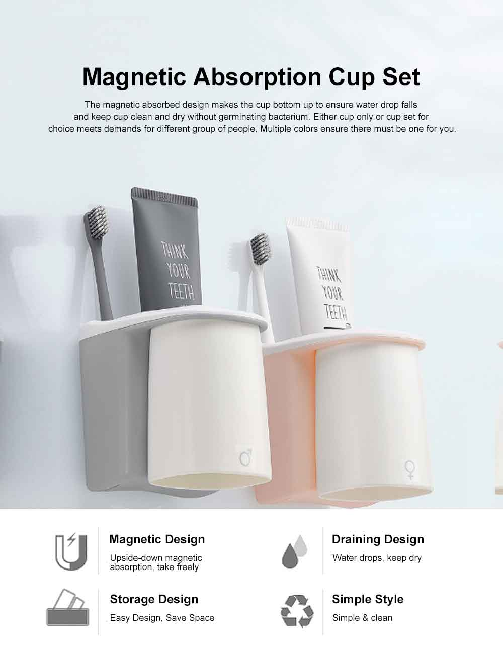 Magnetic Absorption Mug Set for Gargling Household Simple Style Rinsing Mouth Cup Shelf for Small Families and Lovers Teeth-Brushing Cup 0