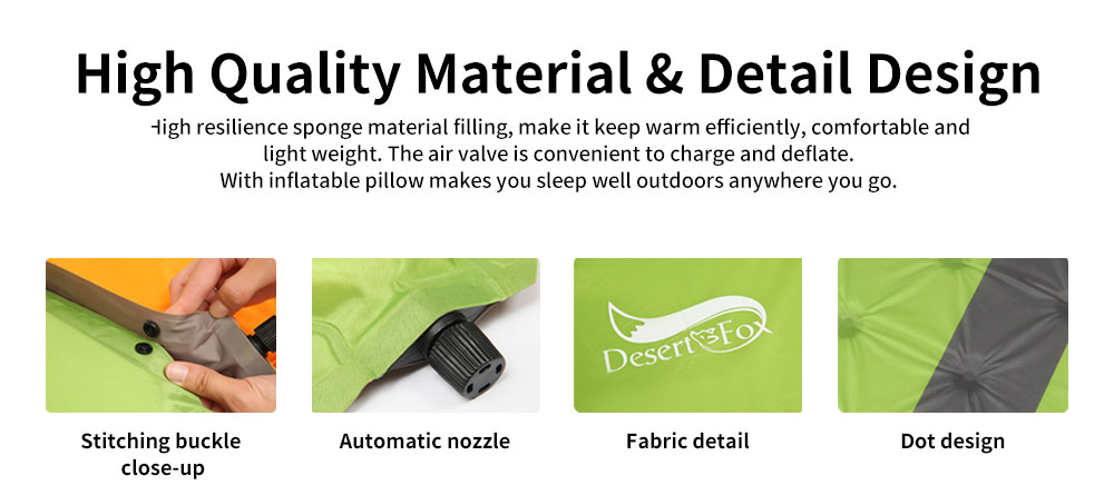 Double Automatic Inflatable Picnic Sleeping Mat with Pillows, Water Resistant & Cold Protection Sleeping Cushion 2