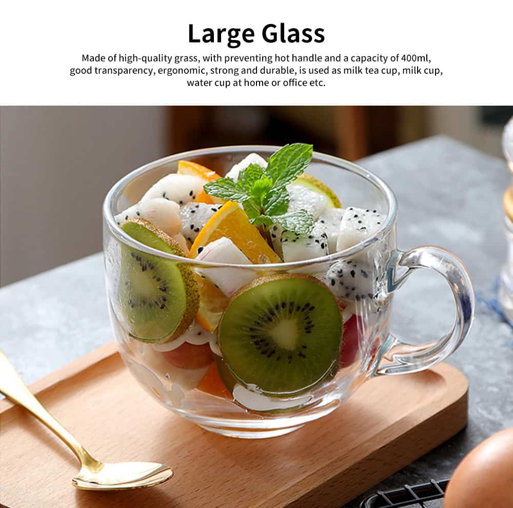 Delicate Beautiful Large Glass for Placing Milk, Cereal, Water, Creative Juice Cup with Thickening of The Bottom 0