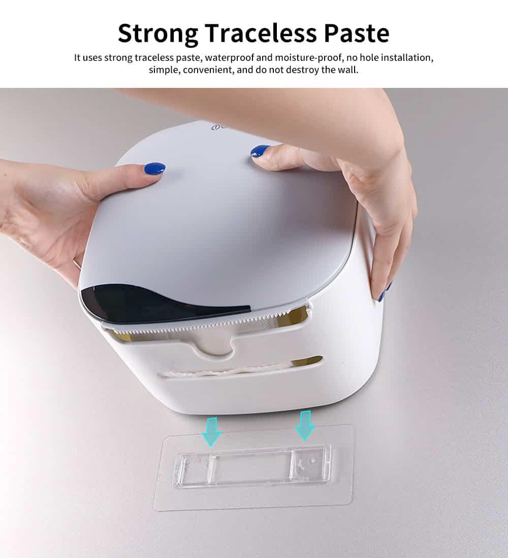 Bathroom Tissue Box, Punch-free Roll Paper Storage Box, with Convenient Type Spring Lock Design 5