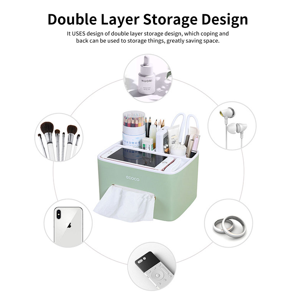 Creative Desktop Storage Tissue Box, Multifunctional Practical Simple Container, with Double Layer Storage Design 2
