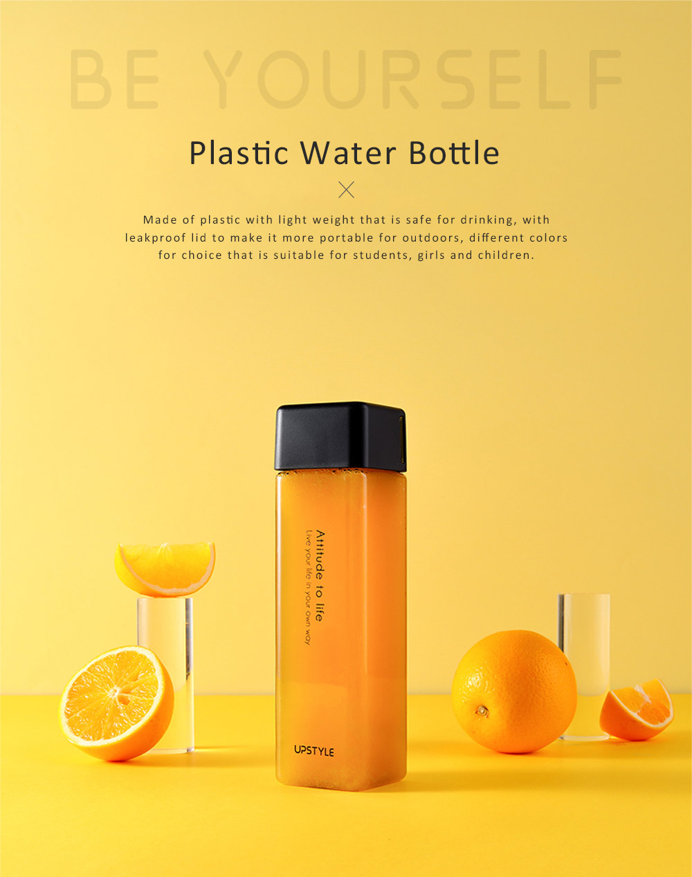 Plastic Water Bottle for Students, Girls, Children, Leakproof Drinking Bottle with Light Weight, Portable Water Bottle for Outdoors 0