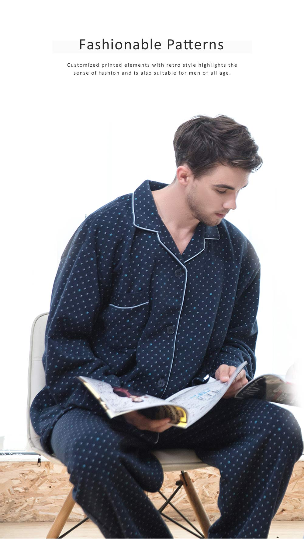 Pajamas Set for Men, Middle Age, Aged, Elderly, Long Sleeve Pajama for Autumn and Winter, Homewear Set with Big Large Size Sleepwear Set 1