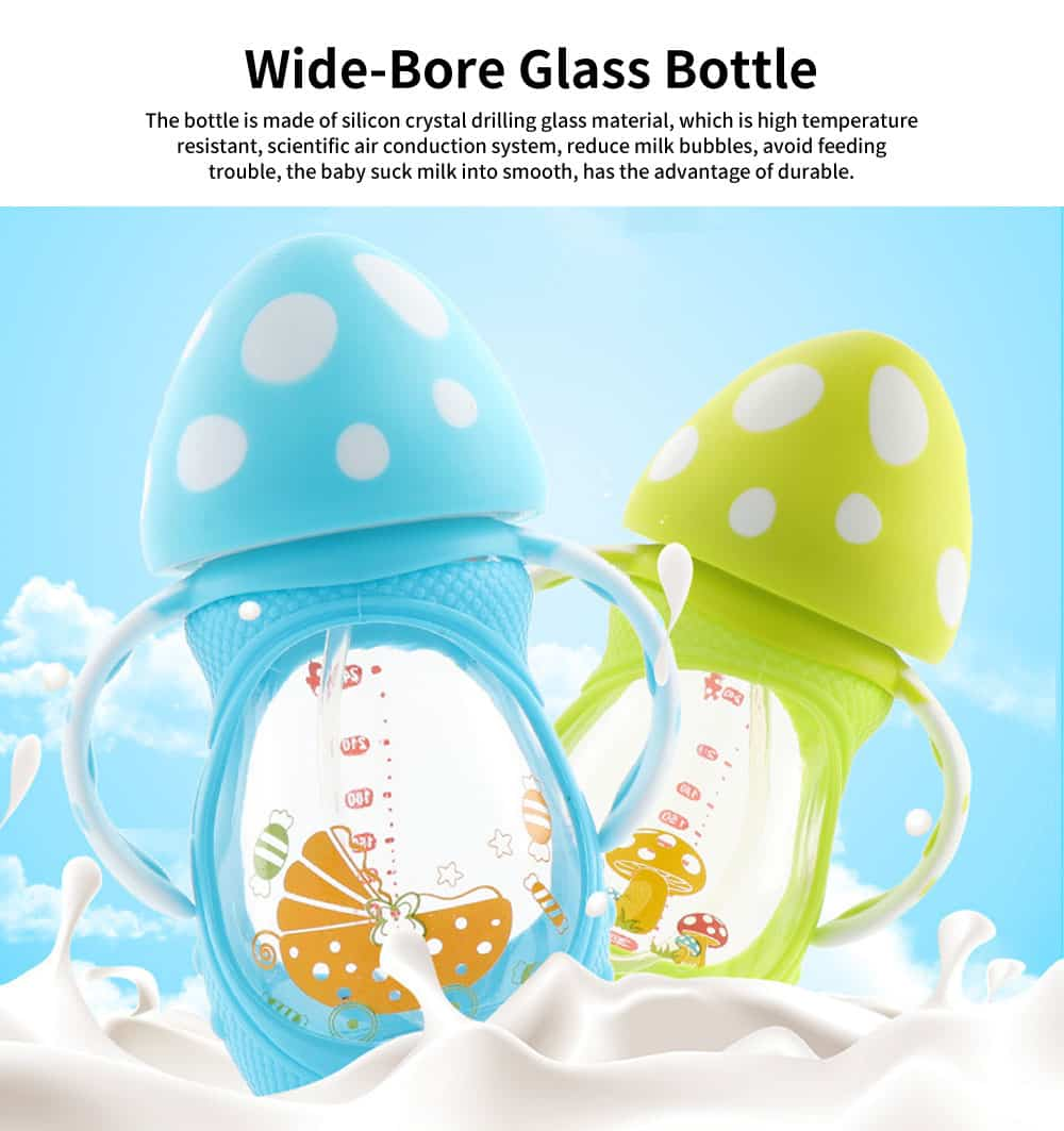 Wide-Bore Glass Bottle, Anti-Drop Silicone Sleeve Mushroom Cover Bottle, Anti-Flatulence Baby Bottle with Handle 0