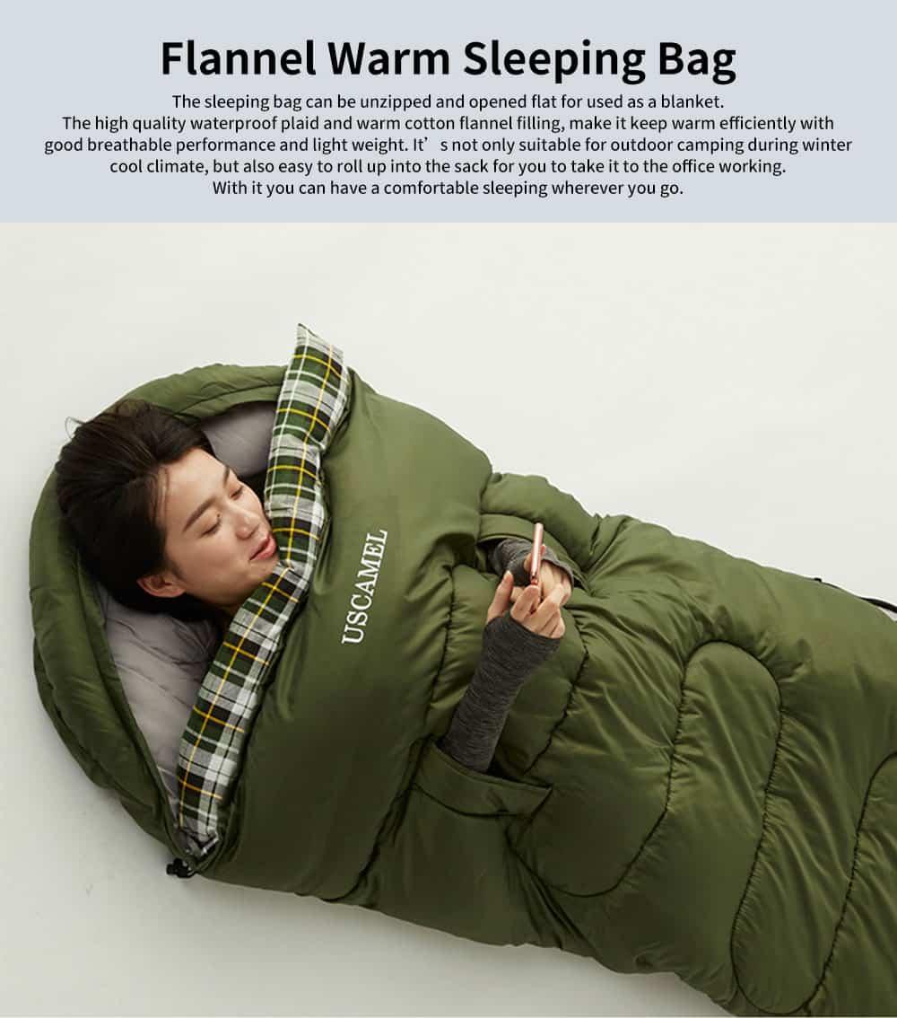 Outdoor Waterproof Sleeping Bag, Lightweight Flannel Warm Sleeping Bag for Travel 4 Seasons 0