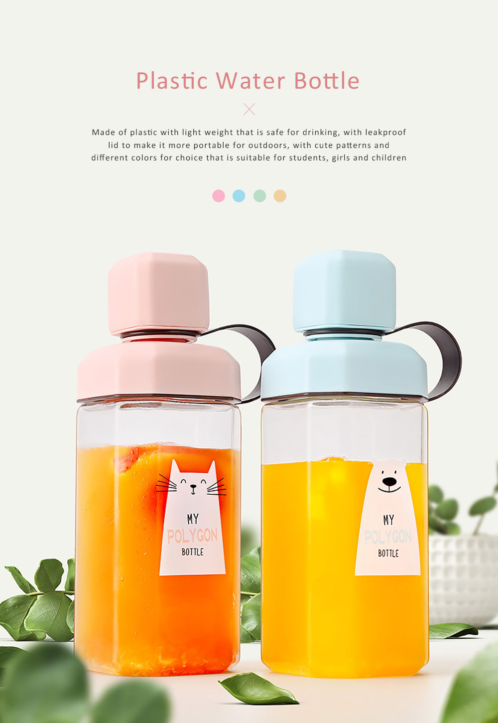 Plastic Water Bottle for Students, Girls, Children, Leakproof Drinking Bottle with Light Weight, Portable Water Bottle for Outdoors, Drinking Bottle with Cute Patterns 0