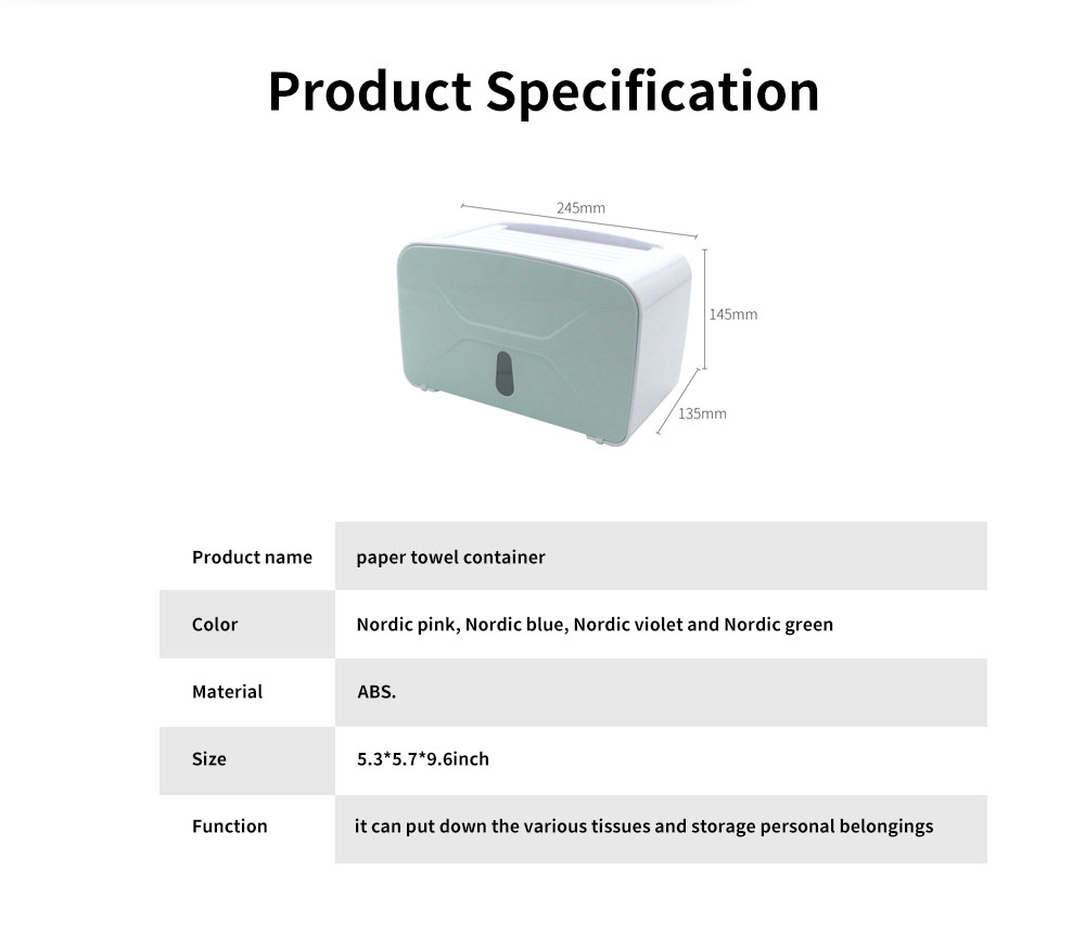Multi-function Toilet Tissue Box High-quality ABS Free Punching Paper Towel Container with Strong Traceless Paste 8
