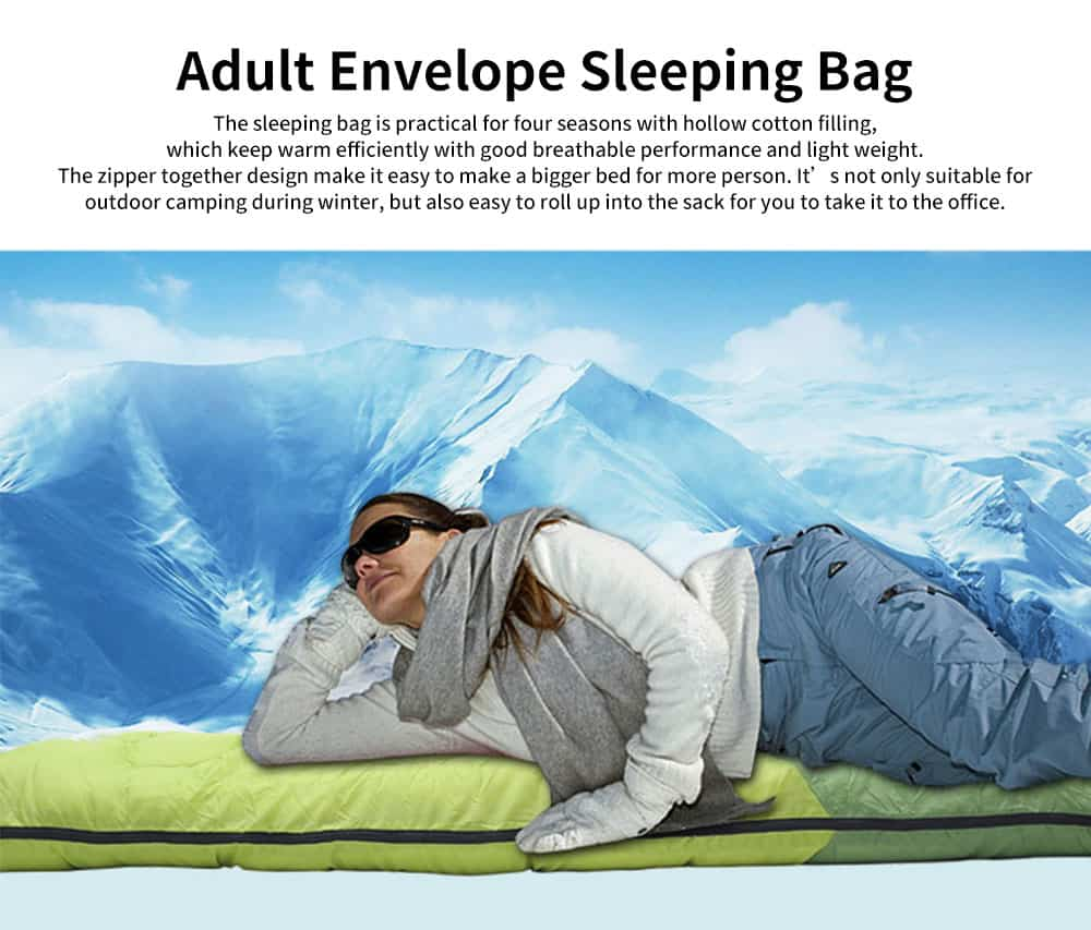 Adult Envelope Sleeping Bag for Hiking, Camping, 4 Seasons, Lightweight Warm Hollow Cotton Sleeping Bag 0