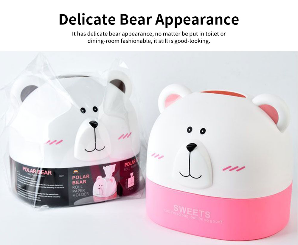 Polar Bear Environment-friendly PP Roll Paper Box, Bathroom Tissue Container, with Delicate Bear Appearance 3