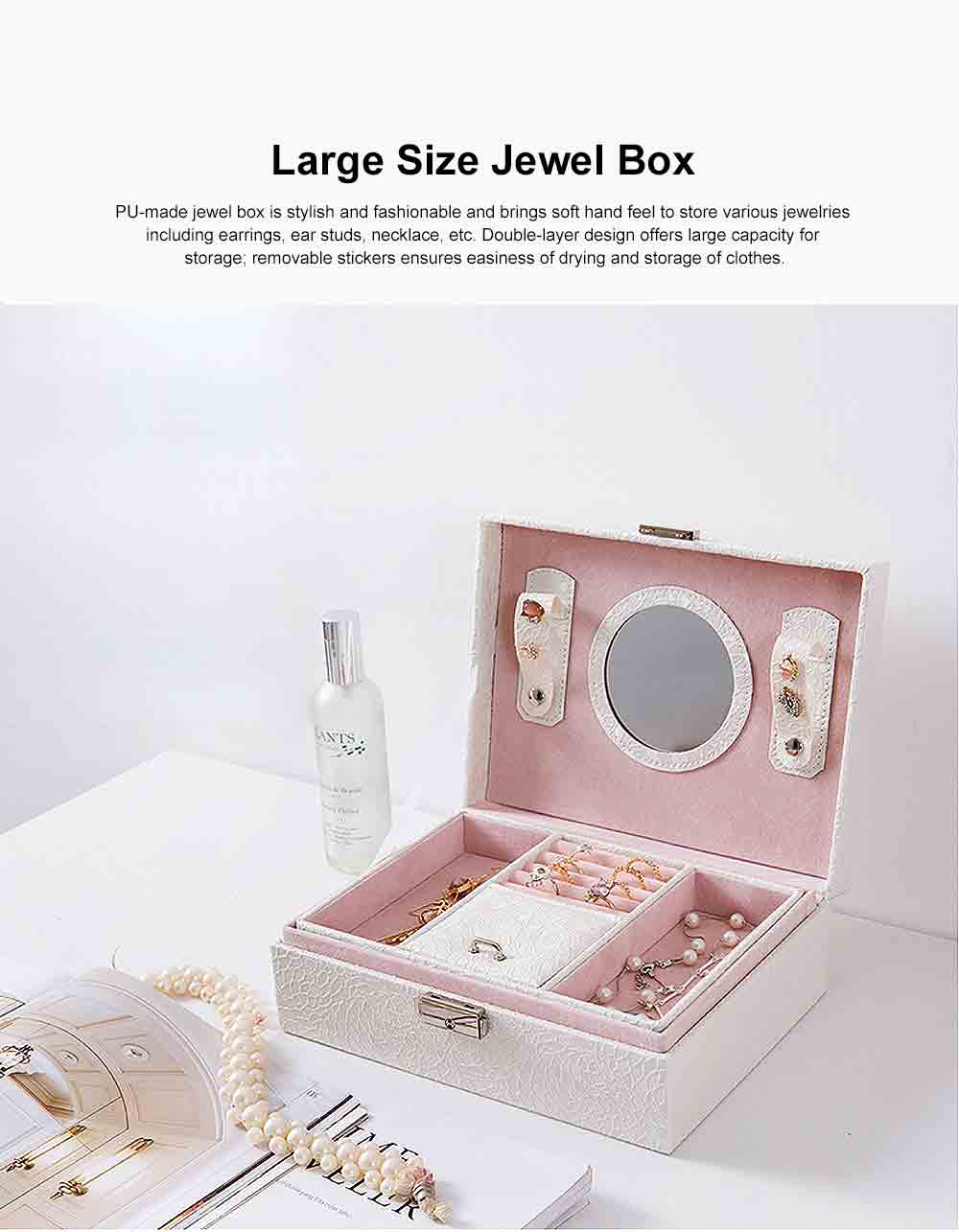 Double-layer Jewel Box for Jewelries of Ear Rings Small Size Ear Studs Jewelry Case for Necklace Finger Rings PU-made Jewelry Storage Box 0