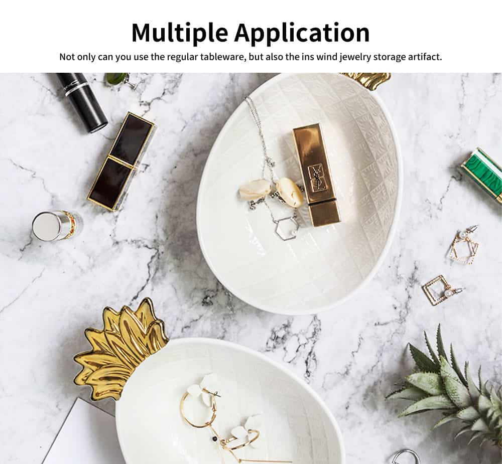 Gold-Plated Ceramic Pineapple Dishes, Nordic Jewelry Pendulum Tableware, Creative Household Plates 2