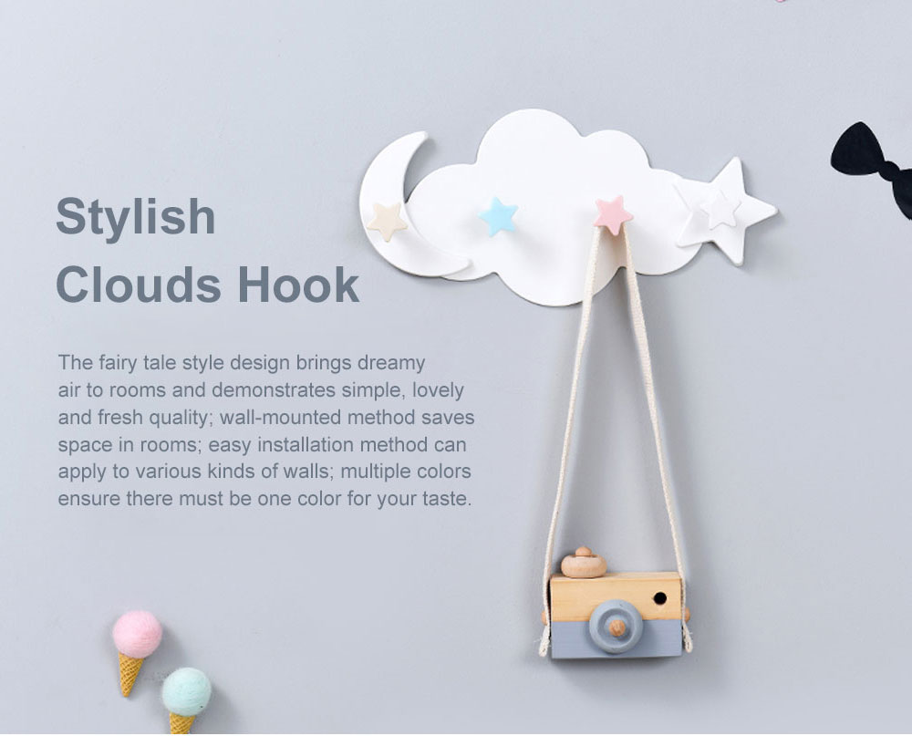 Heavy Load-bearing Cartoon Hook Clouds Hook Sticky Tape Installed Hook Lovely Wall-mounted Hook for Hanging Clothes, Hats Reverse-door-mounted Sticky Hook 0