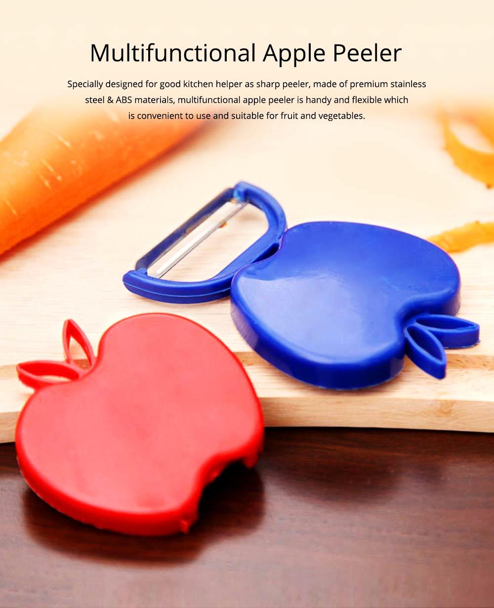 Multifunctional Foldable Peeler Knife with Apple Shape, Portable Vegetable Potato Fruit Peeler, Kitchen Cut Tools 0