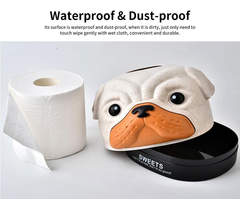 Environment-friendly Wheat Fiber Dog Tissue Box, Multifunctional Desktop Paper Roll Paper Storage Box 5