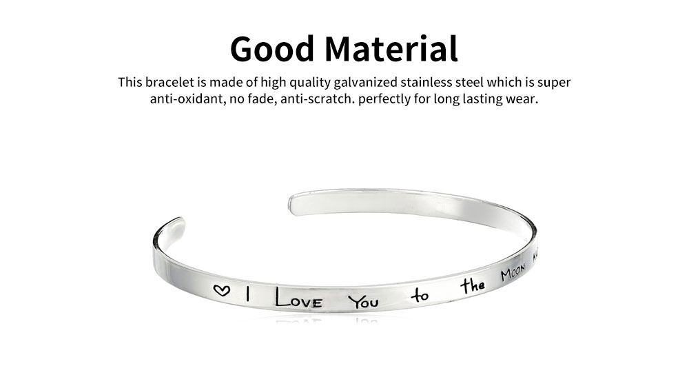 Unisex Bracelet Lady Simple Lettering Plated Stainless Steel Bangle Fashion Jewelry Accessories Elegant Lover Bracelets Valentines Gift For Girlfriend Boyfriend 4