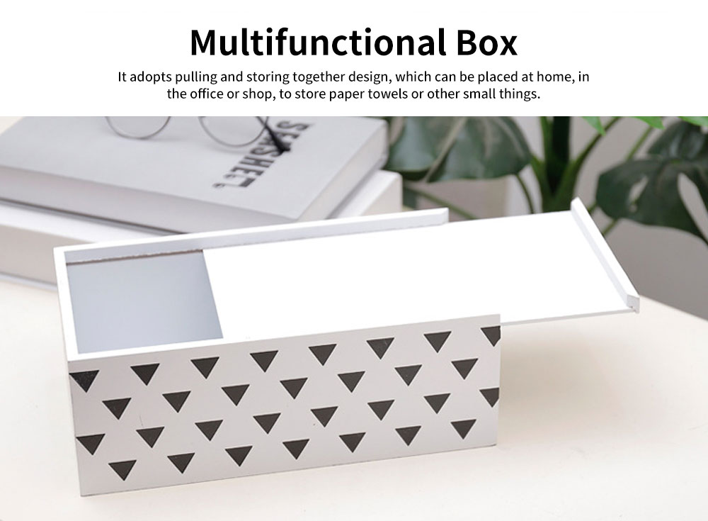 Nordic Simple Style Box, Wooden Paper Towel Storage Container, with Opening to Pull Design and Beautiful Printing 4