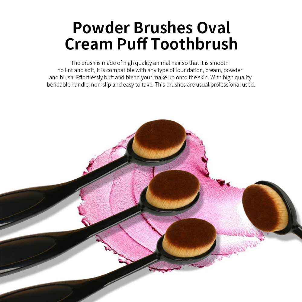 Professional Powder Makeup Brushes Set Oval Cream Puff Toothbrush Black 0