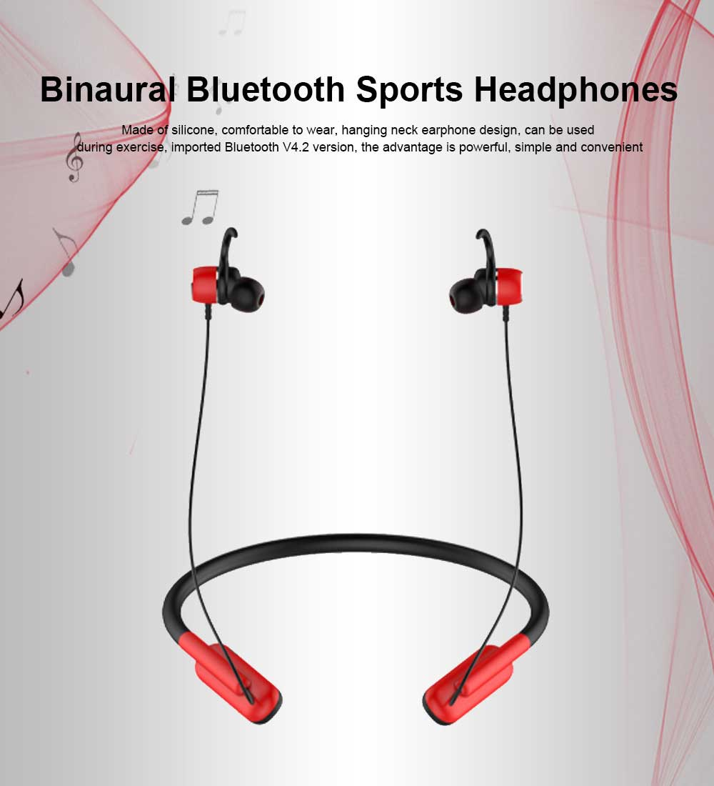 Imported Bluetooth V4.2 Headphones, Hanging Neck Sports Earphones, Binaural Stereo Headset 0