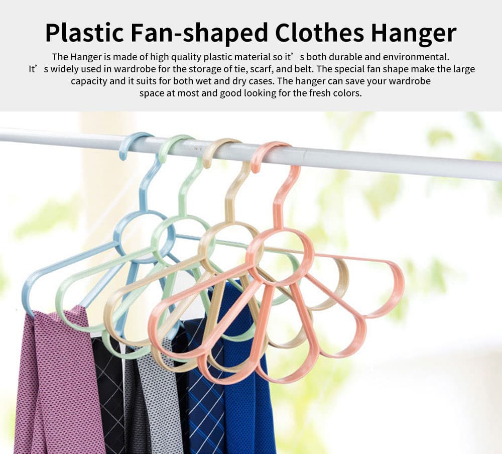 Multifunctional Tie and Scarf Hanger Plastic Fan-shaped for Wardrobe, Home Dormitory Essential Clothes Hanger 0