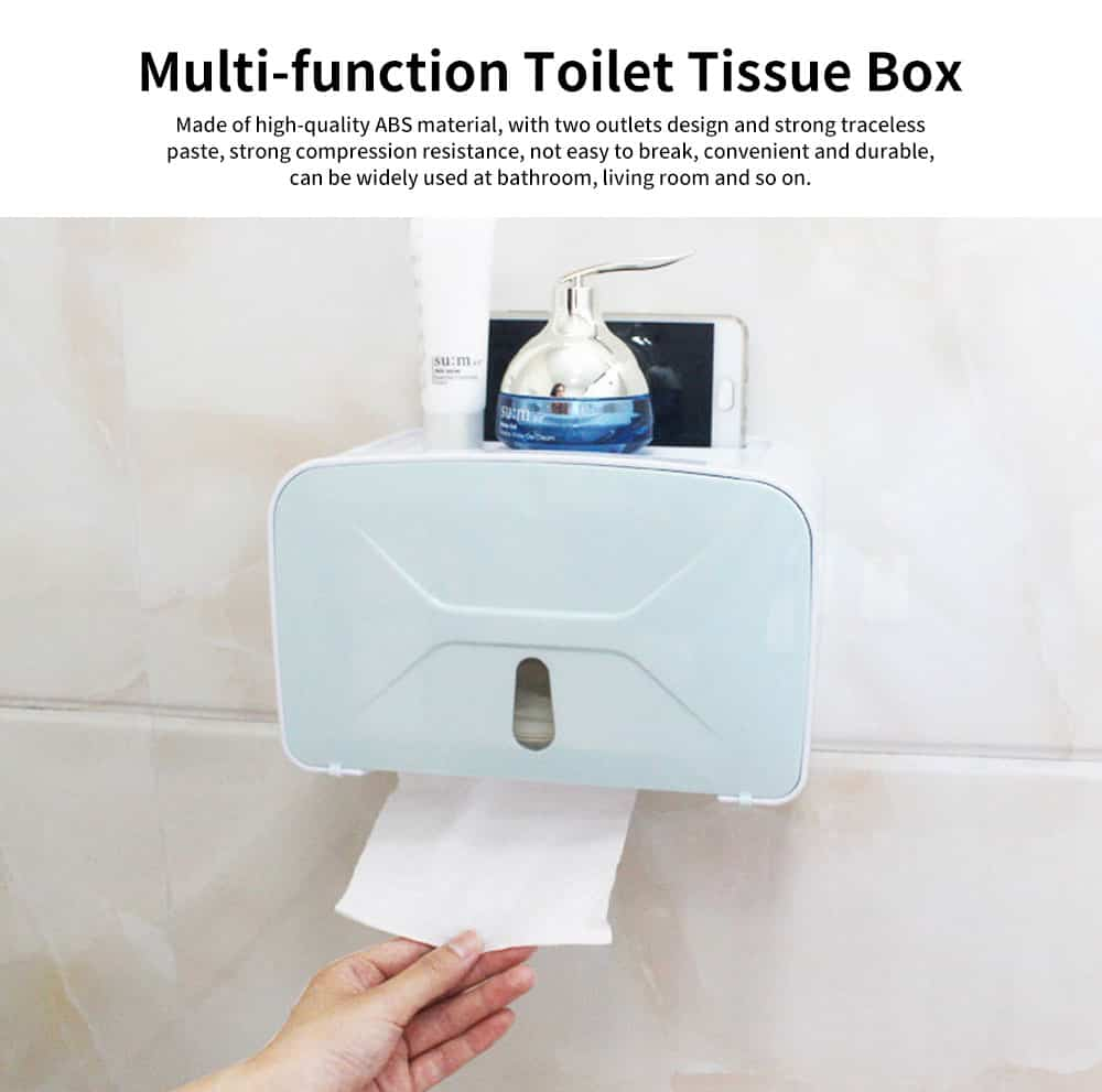 Multi-function Toilet Tissue Box High-quality ABS Free Punching Paper Towel Container with Strong Traceless Paste 0