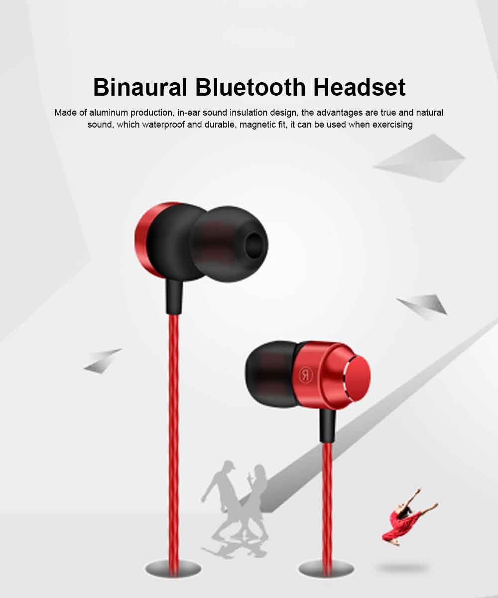 Binaural Sports Bluetooth Headset, 4.1 In-ear With Magnetic Hanging Neck, Charging Bluetooth Headset 0